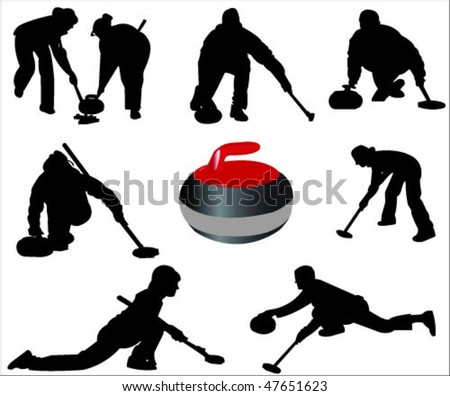 silhouette of a curlers vector