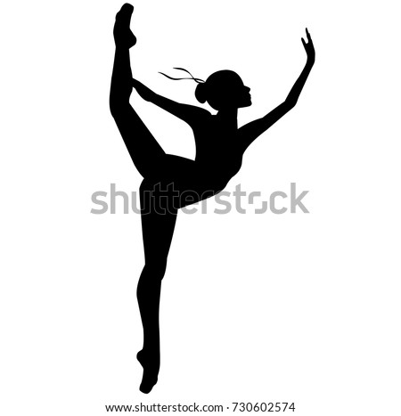 Silhouette of a dancing ballerina. Isolated background, white .sketch , vector, grace.