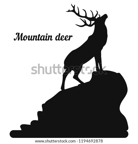 Silhouette of a deer on the top of a mountain, head raised up, on a white background, vector