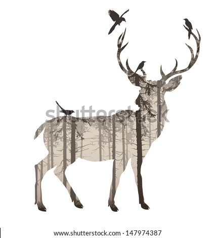 silhouette of a deer with pine forest and birds, browns, white background, vector illustration