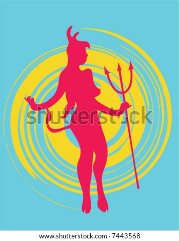 Silhouette of a devil girl.
