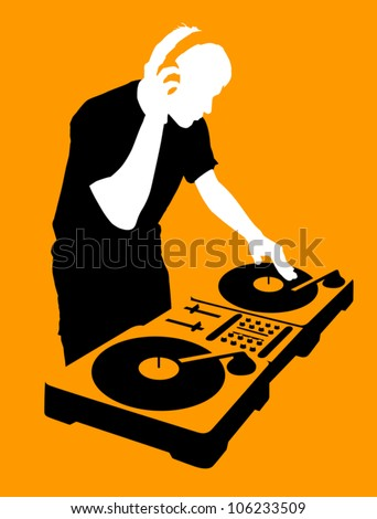 silhouette of a dj wearing