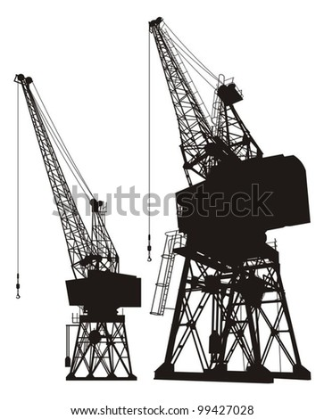 Silhouette of a dockyard cargo crane, two different angles.