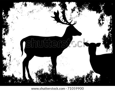 silhouette of a doe with grunge