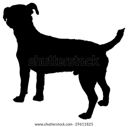 Silhouette of a dog of breed jack russell terrier