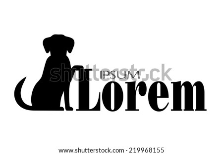 silhouette of  a dog with a place for your text