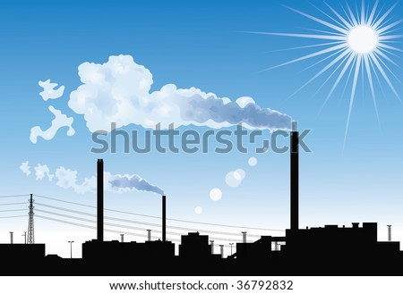 silhouette of a factory with
