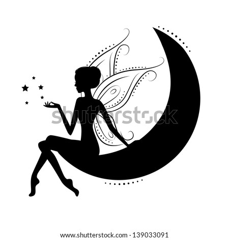 silhouette of a fairy on moon