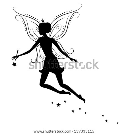 silhouette of a fairy with