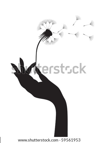 Silhouette of a female hand holding dandelion. Vector illustration.
