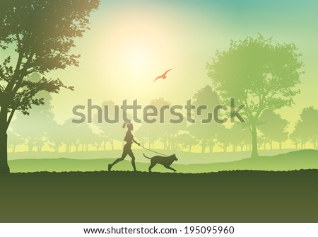 silhouette of a female jogging