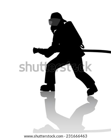 Silhouette of a firefighter in action