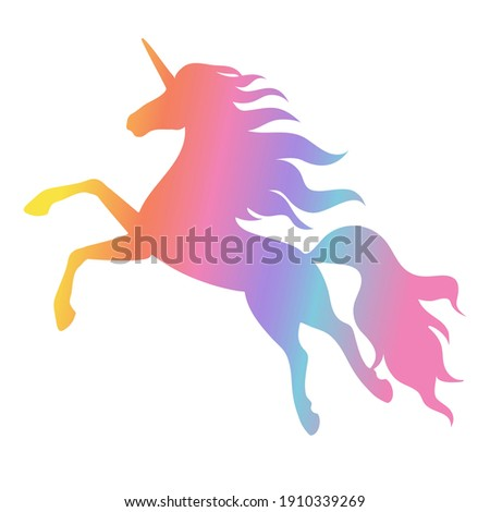 Silhouette of a flying, jumping unicorn. Rainbow silhouette isolated on white background.Element for creating design and decoration.