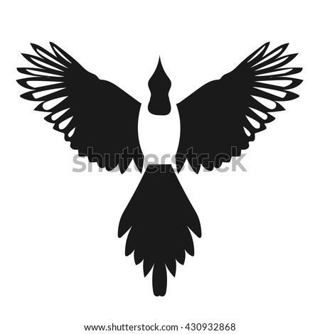 silhouette of a flying magpie