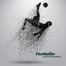 silhouette of a football player from particle