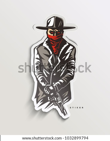 silhouette of a gangster with a