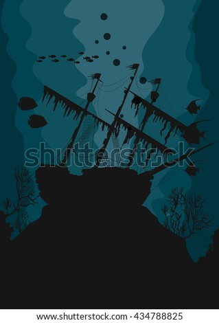 silhouette of a ghost ship