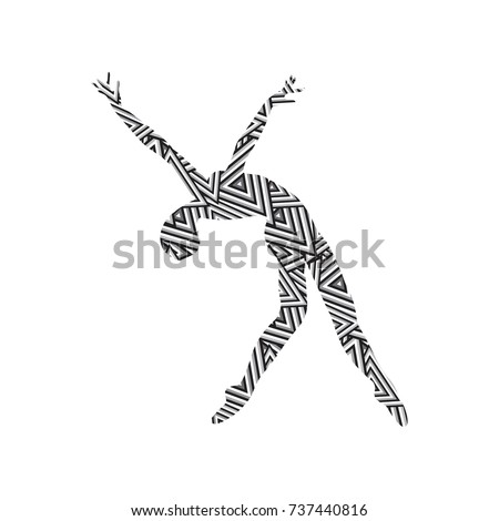 Silhouette of a girl doing modern dance, fitness, yoga, gymnastics, twine, ballet decorated with a pattern on a white background. Vector illustration