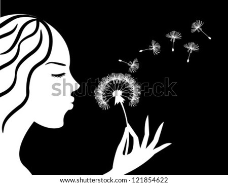 Silhouette Of A Girl In Profile Blowing On Dandelion Stock ...  Face Profile Silhouette Blowing