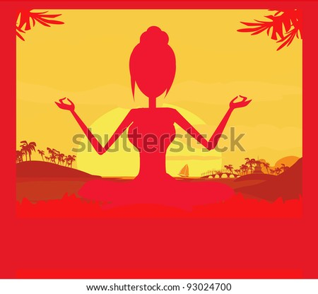Silhouette of a Girl in Yoga pose on Summer background with palm tree