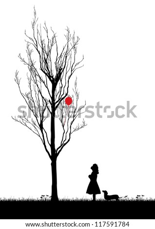 Silhouette of a girl looking up balloon stuck in a tree