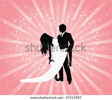 Silhouette Of A Groom And A Bride Dancing On A Pink Background