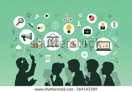Silhouette of a group of people listening to a lecture. Mind Map  -Vector Illustration.