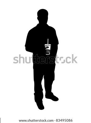 Silhouette of a guy with a drink.