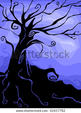 silhouette of a halloween tree