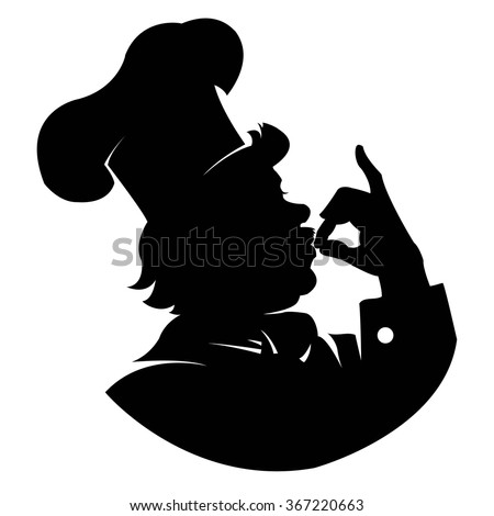 silhouette of a happy chef in profile