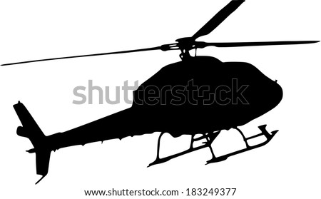 silhouette of a helicopter on white background