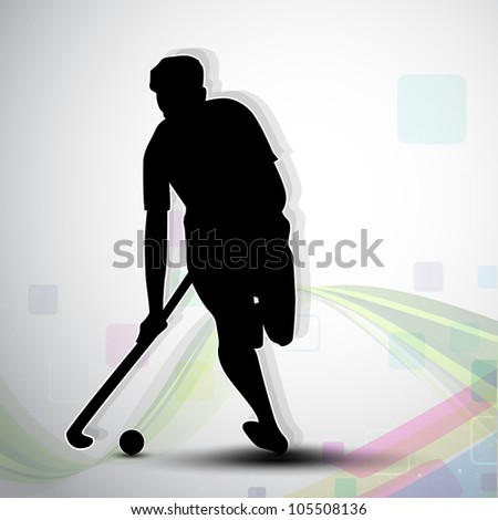 Silhouette of a hockey player with hockey stick and ball on colorful abstract wave background. EPS 10.