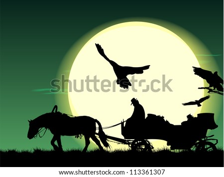 silhouette of a horse put to a