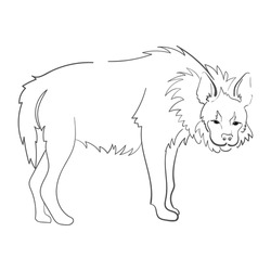 Silhouette of a hyena stylized on a white background.  For use as logos on cards, in printing, posters, invitations, web design and other purposes.
