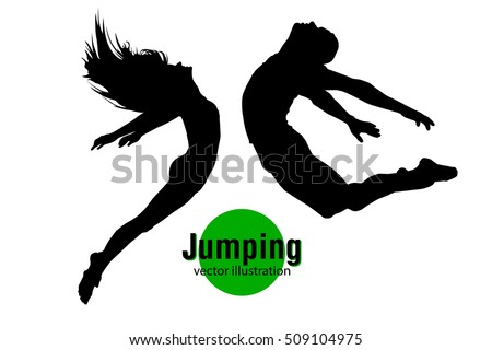 silhouette of a jumping man and
