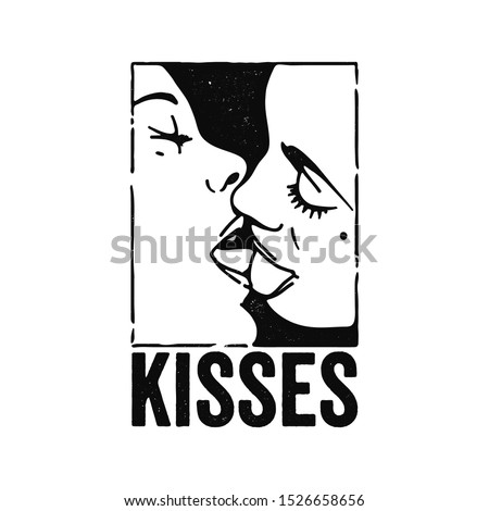 Silhouette of a kissing couple of people and the inscription kisses. Design for printing. Vector.