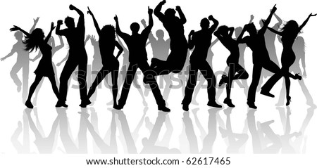 Silhouette of a large group of people dancing - each silhouette is separate and can be used individually