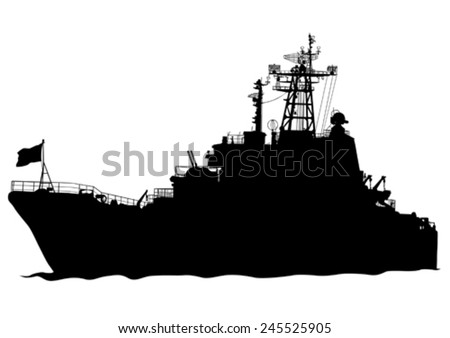 silhouette of a large warship