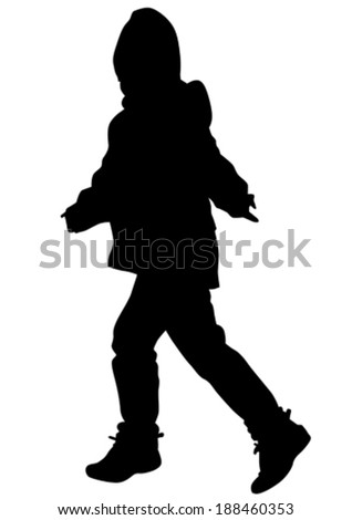 Silhouette of a little child on a walk