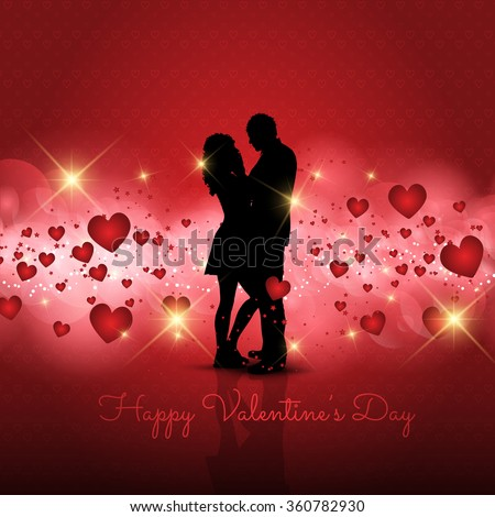 Silhouette of a loving couple on a Valentine's Day background #360782930