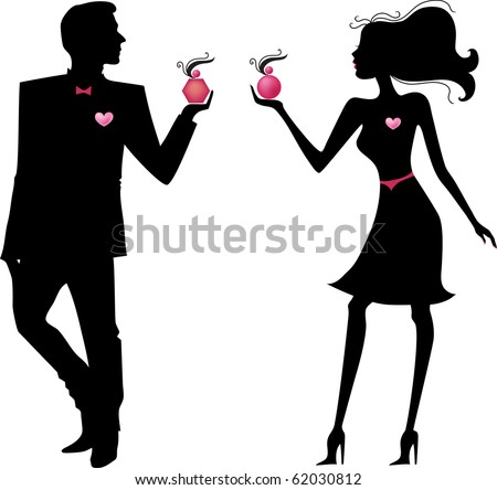 Silhouette of a man and a woman with perfume in the hands of