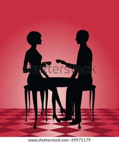 silhouette of a man and woman at a cafe