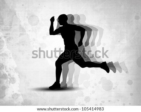 Silhouette of a man athlete running on grungy grey background. EPS 10. - stock vector