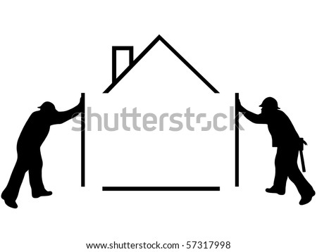Silhouette of a man building a house