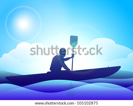 Silhouette of a man doing kayaking on beautiful evening background. EPS 10.