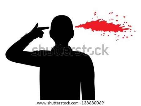 silhouette of a man folded his fingers into the shape of a gun and holds his temple. Pulled out of my head the blood spatter