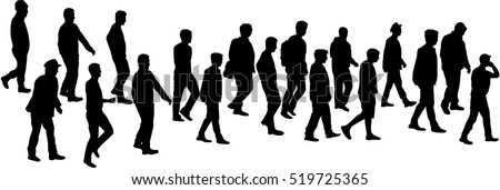 Silhouette of a man. Group of people. Crowd of people silhouettes.