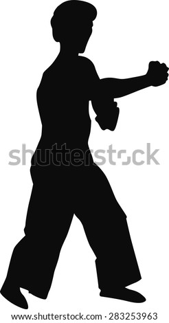 silhouette of a man in black on