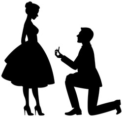 Silhouette of a man makes a proposal to marry the woman vector illustration