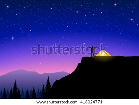 silhouette of a man on top of a